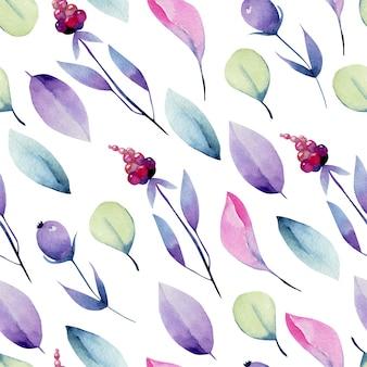Acuarela pastel hojas y bayas de patrones sin fisuras, pintado a mano