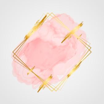 Acuarela pastel con marco dorado