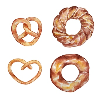Acuarela de pastelería y productos horneados - juego de pretzel, pintado a mano.