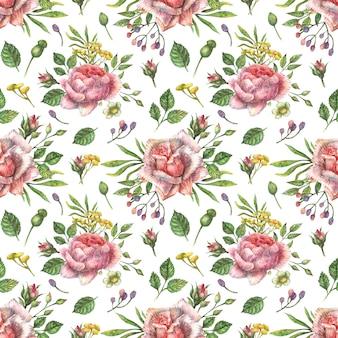 Acuarela sin patrón botánico de flores silvestres de color rosa brillante de peonía, rosas y otras plantas y hojas.