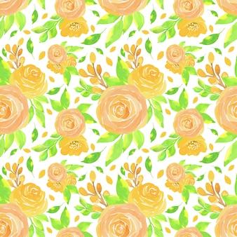 Acuarela patrón floral sin fisuras con hermosas rosas