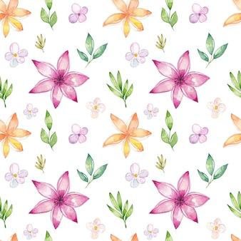 Acuarela patrón floral sin fisuras