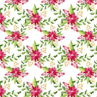 Acuarela patrón floral de navidad