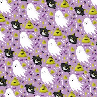 Acuarela patrón de halloween