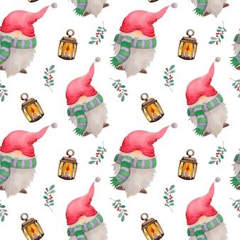 Acuarela patrón navideño con lámparas y gnomos.