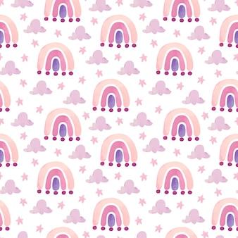 Acuarela de patrones sin fisuras arco iris con nubes y estrellas sobre fondo blanco