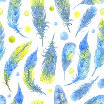 Acuarela de patrones sin fisuras boho con plumas.
