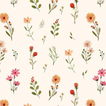 Acuarela de patrones sin fisuras con cálidas flores silvestres