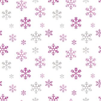 Acuarela de patrones sin fisuras con copos de nieve rosas
