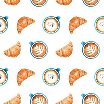 Acuarela de patrones sin fisuras con croissants recién hechos y tazas de café azul con capuchino aromático