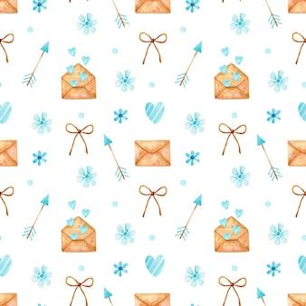 Acuarela de patrones sin fisuras del día de san valentín con sobres de mensaje de amor, flechas azules, corazones y flores