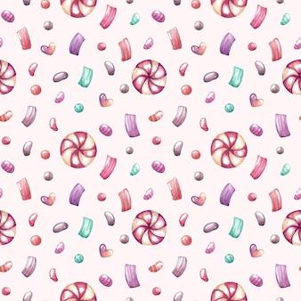 Acuarela de patrones sin fisuras con dulces y confeti