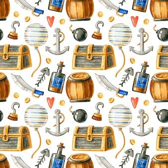 Acuarela de patrones sin fisuras con elementos piratas