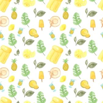 Acuarela de patrones sin fisuras con elementos de verano