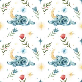 Acuarela de patrones sin fisuras en estilo oculto. ilustración del cielo nocturno con nubes, estrellas, luna y flores.