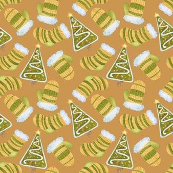Acuarela de patrones sin fisuras de felices fiestas sobre fondo amarillo