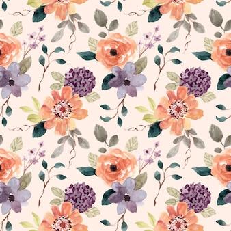 Acuarela de patrones sin fisuras de flor de naranja púrpura