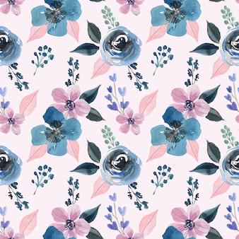 Acuarela de patrones sin fisuras con flor pastel