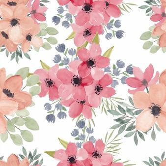Acuarela de patrones sin fisuras con flor de primavera flor de cerezo