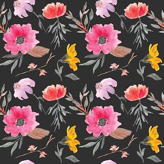 Acuarela de patrones sin fisuras flores amarillas y rosadas