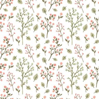 Acuarela de patrones sin fisuras con flores en un estilo romántico.
