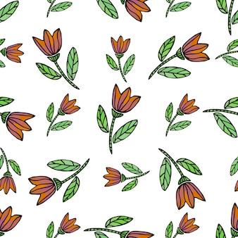 Acuarela de patrones sin fisuras con flores étnicas