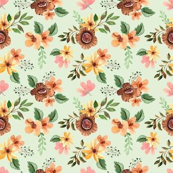 Acuarela de patrones sin fisuras con flores marrones y hojas verdes para la primavera