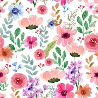 Acuarela de patrones sin fisuras de flores rosas para primavera