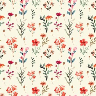 Acuarela de patrones sin fisuras con flores silvestres rosas y rojas