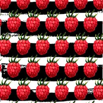 Acuarela de patrones sin fisuras con frambuesas. patrón dibujado a mano