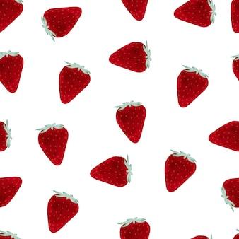 Acuarela de patrones sin fisuras de fresa