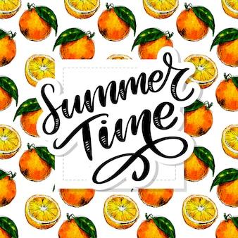 Acuarela de patrones sin fisuras de fruta naranja con hojas. ilustración de frutas cítricas de naranja. ilustración de comida ecológica lema de verano
