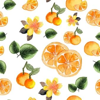 Acuarela de patrones sin fisuras de frutas tropicales