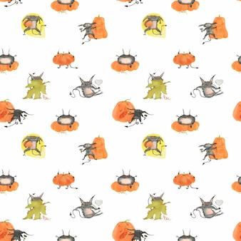 Acuarela de patrones sin fisuras de halloween con calabazas y bestias