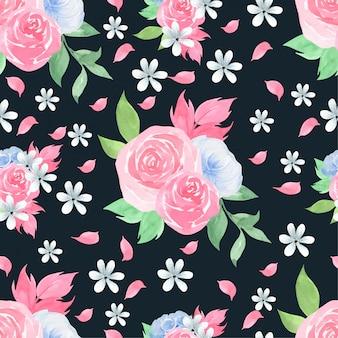 Acuarela de patrones sin fisuras con hermosas rosas