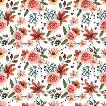 Acuarela de patrones sin fisuras con hojas y flores de otoño cálido