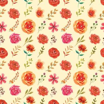 Acuarela de patrones sin fisuras de hojas y flores con temática otoñal