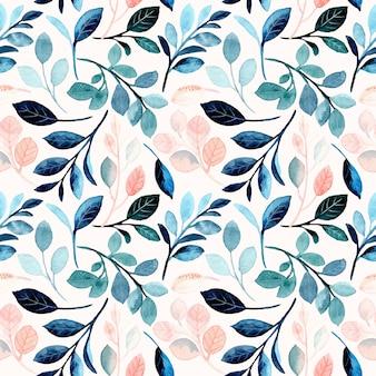Acuarela de patrones sin fisuras con hojas de melocotón azul