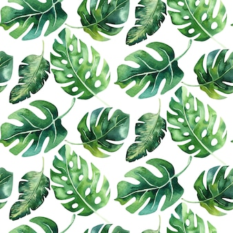 Acuarela de patrones sin fisuras de hojas tropicales, selva densa. hoja de palma pintada a mano. la textura con el verano tropical puede usarse como fondo, papel de regalo, diseño textil o papel tapiz.