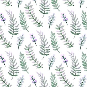Acuarela de patrones sin fisuras de hojas verdes