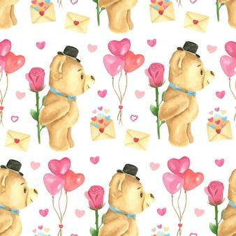 Acuarela de patrones sin fisuras con lindo oso de peluche
