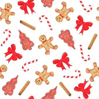 Acuarela de patrones sin fisuras de navidad con arco, pan de jengibre, caña dulce y canela