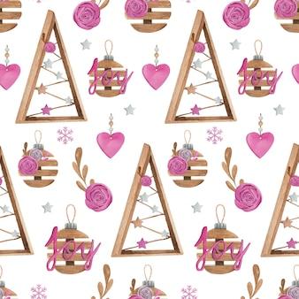 Acuarela de patrones sin fisuras de navidad con decoración rosa y madera