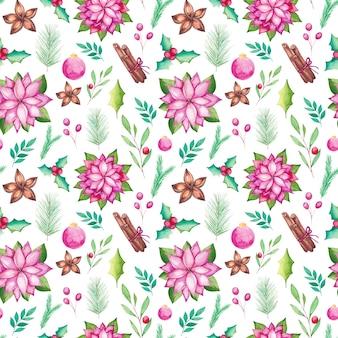 Acuarela de patrones sin fisuras de navidad con elementos de temporada tradicionales de acuarela. poinsettia, adornos, abeto, anís estrellado