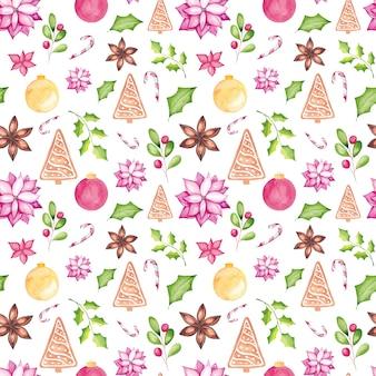 Acuarela de patrones sin fisuras de navidad con elementos de temporada tradicionales de acuarela.