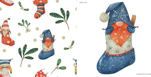 Acuarela de patrones sin fisuras de navidad con gnomos y plantas, acuarela trazada