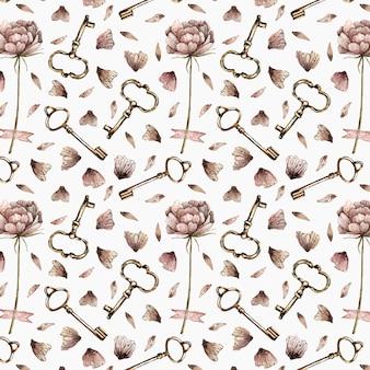 Acuarela de patrones sin fisuras con peonías, pétalos y llaves en estilo vintage.