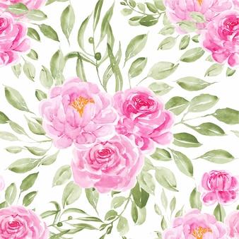 Acuarela de patrones sin fisuras peonías rosa