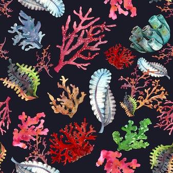 Acuarela de patrones sin fisuras de plantas y corales submarinos
