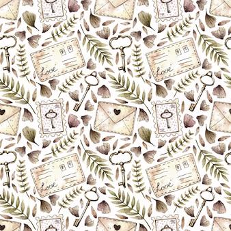 Acuarela de patrones sin fisuras con plantas, llaves, sellos y letras en estilo vintage.